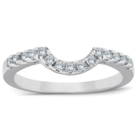 .25CT Curved Diamond Notched Wedding Ring Enhancer 10K (H, I2-I3)