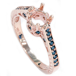 Rose Gold 1/4ct Vintage Black Diamond Ring Setting 14K (Black, AAA)