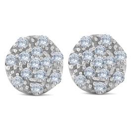 1/2 ct Halo Diamond Cluster Studs 10k White Gold 8.5mm (H-I, I2)
