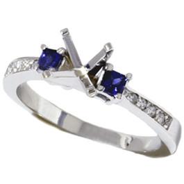 3/8ct Princess Sapphire & Diamond Engagement Ring Setting 14K (G/H, I2)