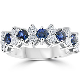 2 1/2 cttw Blue Sapphire & Diamond Wedding Anniversary Ring 14k White Gold (H/I, SI(1)-SI(2))