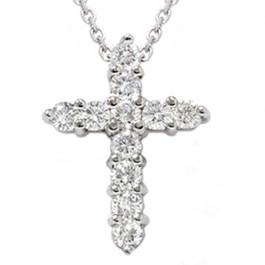 "1ct Diamond Cross Pendant 14K White Gold 1"" Tall (G/H, I1)"