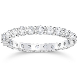 1 1/2 ct Diamond Eternity Ring Womens Stackable White Gold Band Lab Grown (E, VVS)