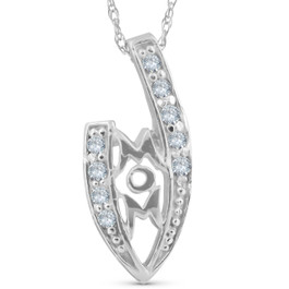 1/10ct Diamond MOM Love Pendant Necklace White Gold (G/H, I2)