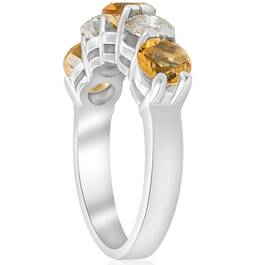 2 1/2ct Citrine & Diamond 5-Stone Ring 14K White Gold (I-J, I1-I2)