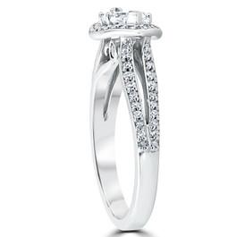 1 1/2 ct Vintage Halo Sidways Marquise Diamond Engagement Ring 14k White Gold (G/H, I1-I2)