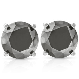3 TCW 14k White Gold Round Black Diamond Stud Earrings (Black, AAA)