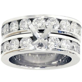3ct Diamond Engagement Semi Mount Wedding Ring Set 14K White Gold (G, SI)