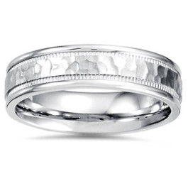 5mm Hammered Flat Wedding Band 14K White Gold