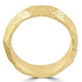 Designer 14k Yellow Gold Hammered Nugget Wedding Band