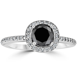 1 1/10ct Treated Black Diamond Cushion Halo Engagement Ring 14K White Gold (G/H, I2-I3)