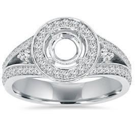 1/2CT Halo Split Shank Diamond Engagement Ring Setting 14K White Gold (G/H, I1-I2)