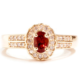 1 1/10ct Diamond & Red Tourmaline Pave Halo Gold Ring 14K Gold (G/H, I1)