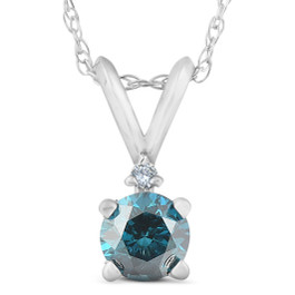 10k White Gold 1/4ct TDW Blue and White Diamond Necklace (H-I, I3)