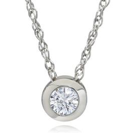 3/8ct Bezel Solitaire Lab Created Diamond Pendant 14K White Gold (F, SI1)