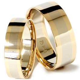 8/6mm Plain 14K Two Tone Wedding Band Set