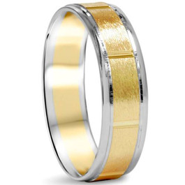 Brushed 6mm 14K White & Yellow Gold Two Tone Wedding Band