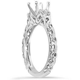 1/4CT Vintage Diamond Engagement Ring Setting 14K White Gold (H/I, I1-I2)