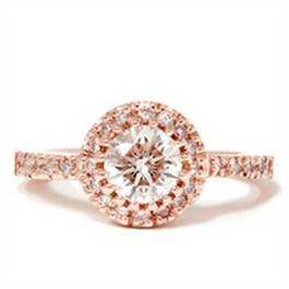 3/4ct Diamond Halo Ring 14K Rose Gold (G/H, I1-I2)