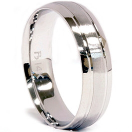 Mens 14K White Gold Satin 6mm Wedding Ring New Band