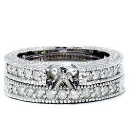 1/2ct Vintage Diamond Engagement Wedding Ring Setting Set (G/H, I1)