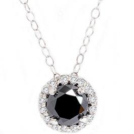 1 1/8ct Black White Diamond Solitaire Pave Halo Pendant (G, I2)
