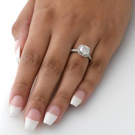 2 Carat Cushion Halo Diamond Engagement Ring 14K White Gold (F, VS)