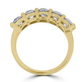 2 ct Diamond Five Stone Wedding Anniversary Round Cut Ring 14k Yellow Gold (H-I, I1)
