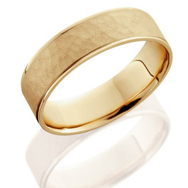 14K Yellow Gold Mens Brushed Hammered Wedding Band 6mm