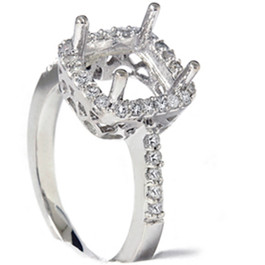 1/2ct Princess Cut Halo Diamond Engagement Ring Setting (G/H, I2)