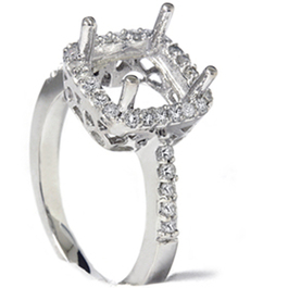1/5ct Princess Cut Halo Diamond Engagement Ring Setting 14k White Gold (G/H, I2)