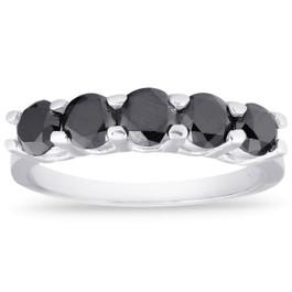 1ct Five Stone Black Diamond Wedding Ring 14K White Gold (Black, )