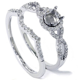 3/8ct Infinity Intertwined Engagement Ring Setting 14K White Gold (G/H, I2)