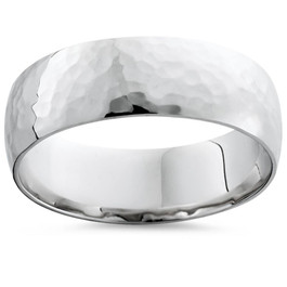 7mm Polished Hammered Wedding Band 10K White Gold