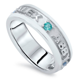 Personalized Mothers Family Birthstone Ring 14K White Gold