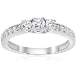1/2ct 3-Stone Round Diamond Ring 14K White Gold (G/H, SI1)
