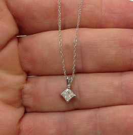 1/3Ct Princess Cut Solitaire Natural Diamond 14K White Gold Pendant & Chain (J-K, I2-3)