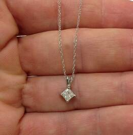 1/3Ct Princess Cut Solitaire Diamond 14K White Gold Pendant & Chain (J-K, I2-3)