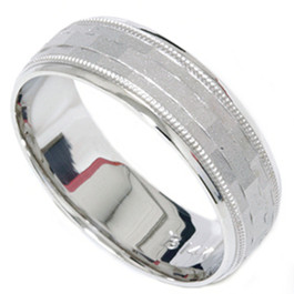 Mens 14K White Gold 7mm Textured Comfort Wedding Band
