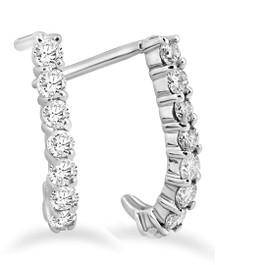 """1/2ct Diamond Hoops 14K White Gold 1/2"""" (G/H, I2)"""