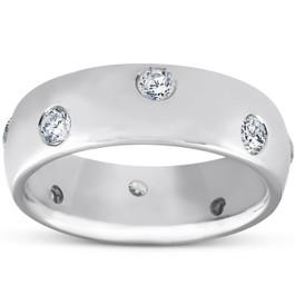 1/2ct Bezel Diamond Eternity Wedding 14K White Gold New Ring (G/H, SI)