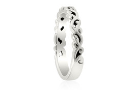 14k White gold Hand Carved Womens Wedding Band Filigree Vintage Stackable Ring