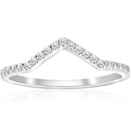 1/5ct Diamond Curved V Shape Ring Stackable Wedding Band 10k White Gold