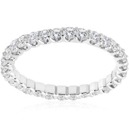 1 1/2 cttw Diamond Eternity Ring U Prong 14k White Gold Wedding Band (H-I, I1)