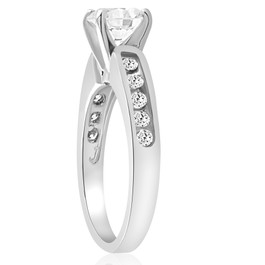 1 ct Diamond Engagement Ring 14K White Gold Channel Set (G/H, SI1-SI2)
