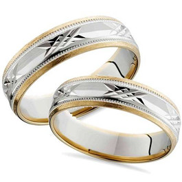 Matching Swiss Cut 14k Gold His Hers Wedding Band Set