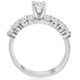 1 1/3 ct TDW Diamond Engagement Ring Wedding Set 14k White Gold (I/J, I2-I3)
