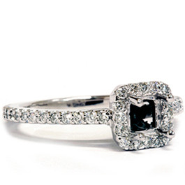 1/2ct Princess Cut Semi Mount Engagement Ring Setting 14K White Gold (G/H, I1)