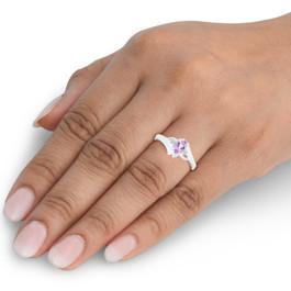5/8ct Amethyst & Diamond Ring 10K White Gold (H/I, I2)