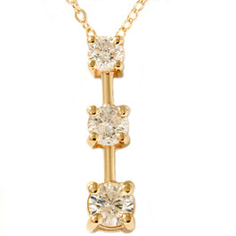1ct Three Stone Diamond Stick Pendant Yellow Gold (G/H, I1)